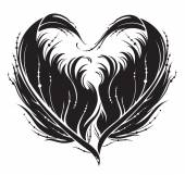 Stylized black heart made by feather in vector. — Stock Vector