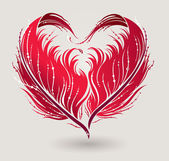 Greeting card with red heart made by feathers in vector. — Stock Vector
