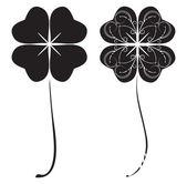 Black four-leaf clovers — Vector de stock