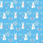 Cute seamless pattern with rabbits — Stock Vector