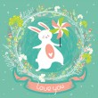 Cute summer greeting card  with bunny and pinwheel — Stock Vector #74858671