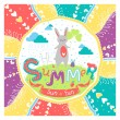 Cute summer greeting card with bunny — Stock Vector #74858685