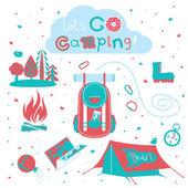 Cute set of cartoon camping equipment symbols and icons — Stockvektor