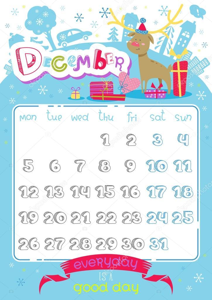 と文字の素敵なカレンダー ページ デザイン。2016 年のテンプレートです。面白い落書き感動的なテキストとイラスト。ベクトルの背景でトレンディな休日。冬、12 月