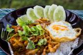 Seafood Curry fried rice with fried egg. — Stock Photo