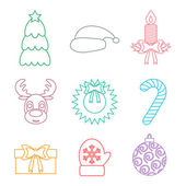 Set of Christmas icons outline. Multicolored. Isolated. Vector — Cтоковый вектор