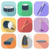 A set of drum icons. Flat design. Shadow. vector — Stock Vector