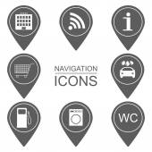 Set of navigation icons. Silhouette icons. Scope of services. vector — Stock Vector