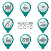 Navigation icons. Bulk. Silhouette. Public places. vector — Stock Vector