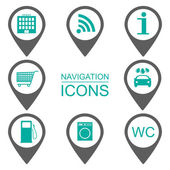 Navigation icons. Silhouette icons. Scope of services. Flat design. vector — Stock Vector