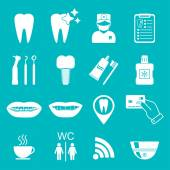 Dental icons. Silhouette. White color. vector — Stock Vector