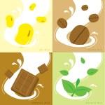 Milk Flavor Soy Coffee Chocolate GreenteaVector — Stock Vector #70961597