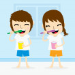 Boy and girl clean tooth brush daily cartoon vector — Stock Vector #71057477