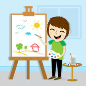 Boy Artist Drawing Cute Cartoon Vector Design — Stock Vector