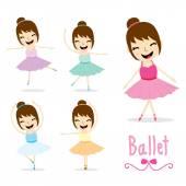 The Ballet Girl cute Activity cartoon design vector — Stock Vector