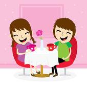 Boy and girl sweetheart meeting at shop cute cartoon vector — Cтоковый вектор