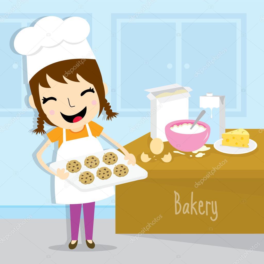 Chica hacer vector de dibujos animados lindo actividad for Cocinar imagenes animadas