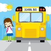 Studente ragazza andare a scuola per scuola bus nella mattina bambino fumetto vettoriale — Vettoriale Stock