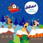 Merry Christmas Text Santa Gift Dogs Fun Enjoy Cartoon Vector — Stock Vector