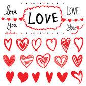 Kalp tasarım öğeleri karikatür vektör çizim tasarım ayarla — Stok Vektör