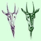 Image of two goats in vector. — Vector de stock