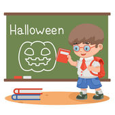 Halloween lesson boy school — Stock Vector