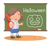 Halloween lesson girl school — Stock Vector