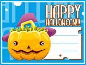 Halloween pumpkin card hat — Stock Vector