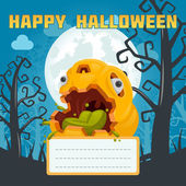 Halloween pumpkin monster poison card — Stok Vektör