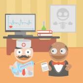 Vacina de seringa de médico de medicina — Vetor de Stock