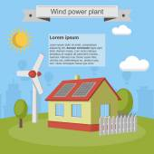 Wind power plant solar energy house city town infographic ecology — Stock Vector