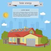 Solar energy house home villa panel isometric ecology garage — Stock Vector