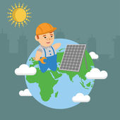 Solar energy panel ecology earth builder — Stock Vector