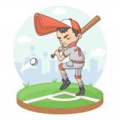 Baseball boy player league player softball stadium — Stock Vector
