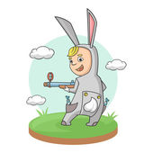 Boy easter bunny hare rifle — Stock Vector