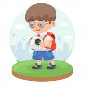 Schoolboy child pupil football — Stock Vector