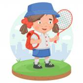 Schoolgirl education sport tennis — Stock Vector
