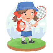 Schoolgirl education sport tennis — Vettoriale Stock
