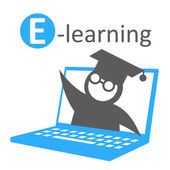 E-learning education icon — Stock Vector