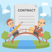 Businessman contract pact client — Stock Vector