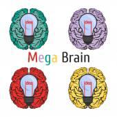 Ícone de anatomia do cérebro ciência educação conhecimento idéia escola — Vetor de Stock