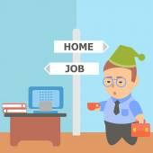 Бизнесмен работы дома трудоголик — Cтоковый вектор