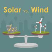 Solar energy versus wind energy — Stock Vector