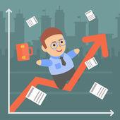 Businessman character schedule progress — Stock Vector