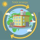 Solar energy factory planet — Stock Vector