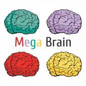 Placa da escola do conhecimento de educação ciência de cérebro — Vetor de Stock