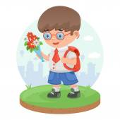 Schoolboy child pupil flowers knowledge education — Stock Vector