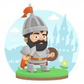 Warrior character castle legend — Stock Vector