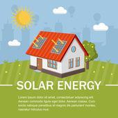 Solar energy panels house ecology — Stock Vector