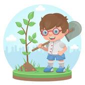 Pojke växt träd sommaren — Stockvektor
